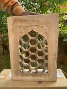 18t C Antique Stone Hand Carving Collectible Floral Jharokha Window Wall Panel
