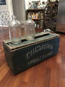 Antique Chemung Spring Water Wooden Crate With 2 Bottles