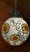 Vtg 1960and039s-70and039s Retro Flower Child Ball Hanging Swag Light/lamp