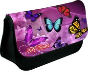 Personalised Butterfly Collection Zipped Pencil Makeup Case School Ds Bag Xmas