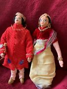 1950s Vintage Pair Of Indian, Souvenir Dolls, Traditional Costume Dolls