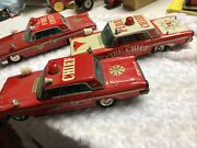 3 - Ford Fire Chief Cars D Size Battery Make Car Move Spin And Turns Red Light On