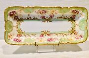 """Limoges, France, Rectangular Plate, Ak/cd, With Gold Trim, 12""""x5 3/4""""."""