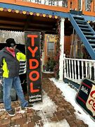Vintage 1920and039s Vertical Tydol Gasoline Gas Oil Rare Sign W/ Wood Frame 72x15in