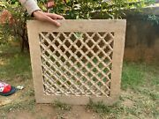 Antique Rare Hand Carved Collectible Stone Jharokha Jali Cut Window Wall Panel