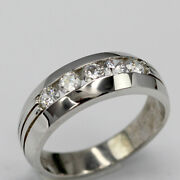 Real 0.50 Ct Diamond Wedding Ring Solid 14k White Gold Menand039s Band Size 9 10 11