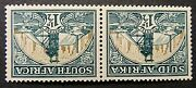 South Africa 1933-48 Sg57dw. Kgvi 1andfrac12d. Green And Bright Gold Wmk Inverted - Mm