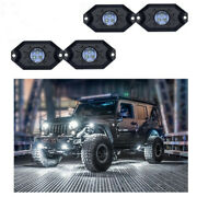 4-pods Car Auto Rgb Led Rock Lights Wireless Bt Music Neon Multi-color Off Road