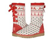 Ugg Christmas New Year Holiday Sweater Flat Knit Boots Ribbon Red Size 9 10 11