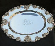 Antique Sterling Silver Platter Tray Bailey Banks And Biddle 18x14 Ornate 44oz