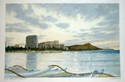 Hawaii Watercolor Painting Day Break @ Waikiki And Outrigger By By L. Segedin 122