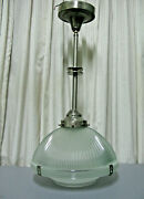 Vintage Industrial Holophane Two Part Glass Ceiling Light Fixture