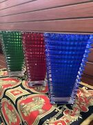 """Set Of3- Baccarat Style Xl Vases 12"""" Heavy Glass Art Red,green,blue Signed"""