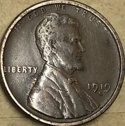 1919 -s About Uncirculated Lincoln Cent Wheat Penny. Copper Lincoln Small Cent.