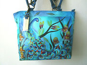 Anuschka Forest Peacock Blue Hand Painted Leather Large Tote Purse - Nwt