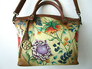 Anuschka Caribean Garden Hand Painted Leather Double-handle Tote Purse - Nwt