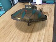 Vintage Ufo Saucer Space Age Pull Down Ceiling Light Lamp Fixture Stained Glass