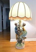 Vtg Azzolin Brothers 1967 Figural Porcelain Statue Lamp Light Italy