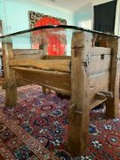 Antique Chinese Horse Manger Dining Table With Glass Top