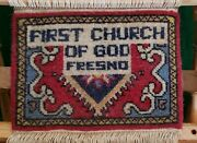 Antique Vintage First Church Of God Fresno Ca. Mini Small Rug On Loom.