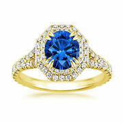 Real 2.16 Ct Diamond Blue Sapphire Ring Solid 14k Yellow Gold Rings Size All