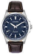 Citizen Eco-drive Menand039s World Time Perpetual Calendar Band 41mm Watch Bx1000-06l