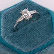 Emerald Shape 1.50 Ct F Si1 Real Natural Diamond Engagement Ring 14k White Gold