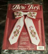 New And Sealed Cross Stitch Christmas Bow Ties Kit Christmas Candy By Jca Festive