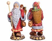 Wooden Hand Carved 12 Acrylic Painted Santa Claus Figurine