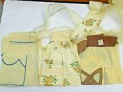 Vintage Lot Of 3 Sheer Cotton Cloth Half Aprons Floral Print Bow 1950s 1960s New