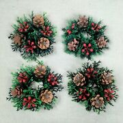 4 Vintage Christmas Candle Rings Plastic Pinecone Berries Taper Small Holly