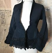 Antique Victorian Black Silk Mourning Blouse, Lace And Jer