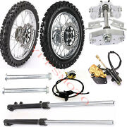 60/100-14 + 80/100-12 Wheel Tire+ Brake Assembly + Front Forks Triple Tree Clamp