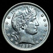 1899-p Barber Quarter ✪ Uncirculated Unc Details ✪ 25c Silver Cleaned ◢trusted◣