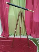 Nautical Floor Standing Brass Polish Navigation Scope With Wooden Tripod Stand