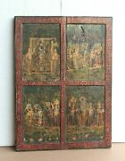Old Vintage Paintings On Teak Wood Antique Home Decor Rare Collectible Art Bo-07
