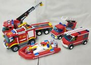 Lego City Fire Truck Used Lot 7213, 4208, 60003, And More No Minifigures
