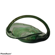 Vintage Sooner Glass Centerpiece Bowl Green And Clear Glass Swirl 10 Long