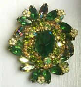 Vintage Signed Weiss Emerald Green Center Oval Domed Brooch Pin Large 2 3/4