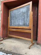 1920s Vtg Schoolhouse Double Sided Chalk Board/stand Mission Kitchen Menu Board