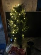 Bethlehem Lights 30 Green Stake Christmas Pine Tree Led Clear Lights Red Bow