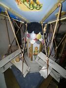 2 French Antique Doll Display Gorgeous Merry Go Round Carousel Tlc 23.5 Tall