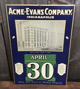 Early Vintage 1920/30s Acme Evans Flour Mill Advertising Sign Calendar Complete