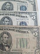 Series Of 1934 Bd 5 Dollar Bill Lime Green And Blue Seal Group Of 3 Set 9/6