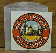 Original Vintage Travel Water Decal Hollywood Chinese Theatre Auto California 50