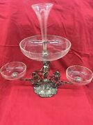 Silverplate Centerpiece Epergne W/ Crystal Etched Bowls And Flute On Cherub Base