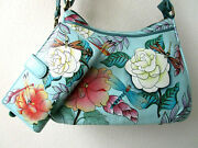 Anuschka Hand Painted Leather Hobo Shoulder Purse And Matching Wallet - Nwt
