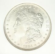 1884 O Silver Morgan Dollar Ngc Ms65, Front Shines With Back Fully Toned Neat