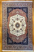 New Top Quality Handmade Tribal Floral Oriental Rug Dusty Rose And Navy Blue 6x9