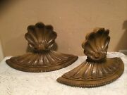 """Pair Vintage Mid Century Modern Syroco Resin Wood Look 19"""" Wall Shelves/sconces"""